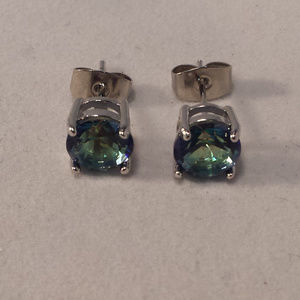 Jewelry - 18k WGF Blue Mystic Topaz Zircon Earrings 1.28tcw
